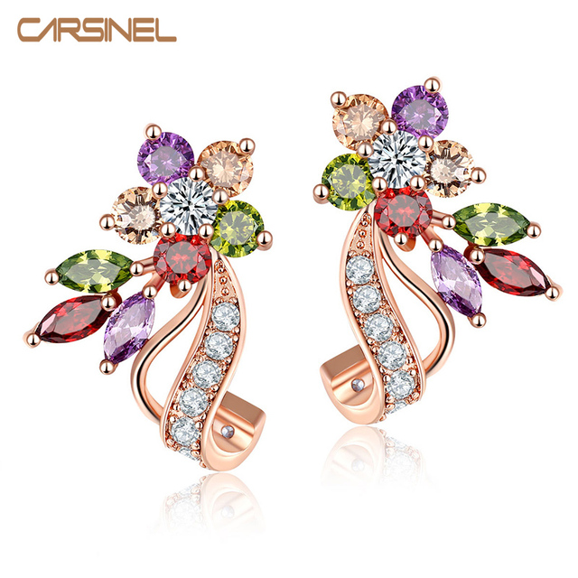 Carsinel Fashion Simple New Design Cz Zirconia Colorful Stud Earrings Rose Gold Color Piercing Ear Studs