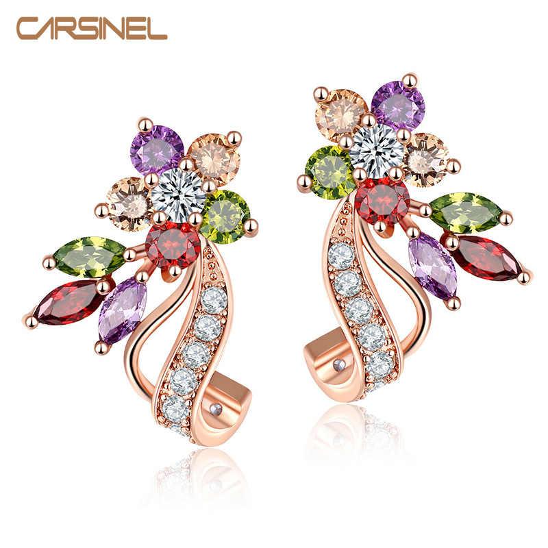 Carsinel Fashion Sederhana Desain Baru CZ Zirconia Warna-warni Stud Anting-Anting Mawar Warna Emas Piercing Giwang Telinga untuk Pesta Pernikahan Wanita
