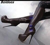Коричневые ботинки из мягкой кожи на шпильках, женские модные ботинки на очень высоком каблуке и платформе в сдержанном стиле, Классическая