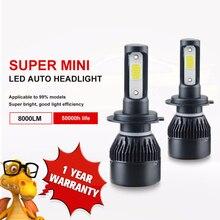 Aceersun H7 H4 светодиодный лампы автомобилей Headllight H4 H1 H11 9005 72 W Мини УДАРА чип 12 V 24 V авто фары лампы 8000LM 6500 K 4300 K противотуманных фар