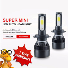 Aceersun H7 H4 LED Bulb Car Headllight H4 H1 H11 9005 72W mini cob chip 12V 24V Auto Headlamp Lamps 8000LM 6500K 4300K Fog Light(China)