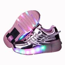 41a426f3 2019 luminosa zapatillas de deporte niños patines limítate a los niños  brillantes zapatillas con ruedas de los niños Led luz zap.