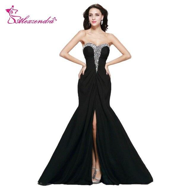 fa7919b6b75 Alexandra zroszony kryształ szyfonowa Mermaid suknie balowe z boczne  rozcięcia długie czarne suknie wieczorowe sukienka na