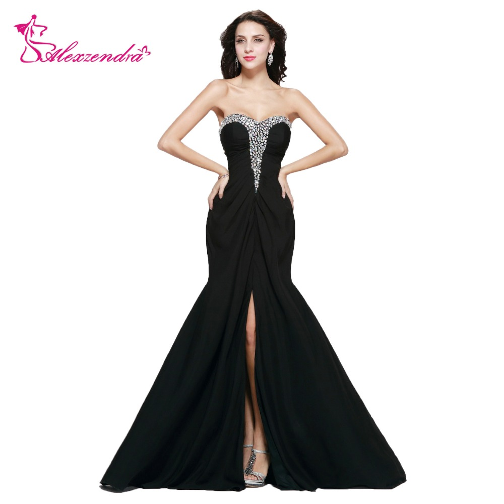 Alexzendra Beaded Crystal Chiffon Mermaid Prom Dresses with Side ...