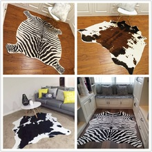 Zebra Rug for Living Room Cowhide strpe faux skin mat Simulation Animal file Bedroom Carpets Shaggy Home Decor ins dropshipping