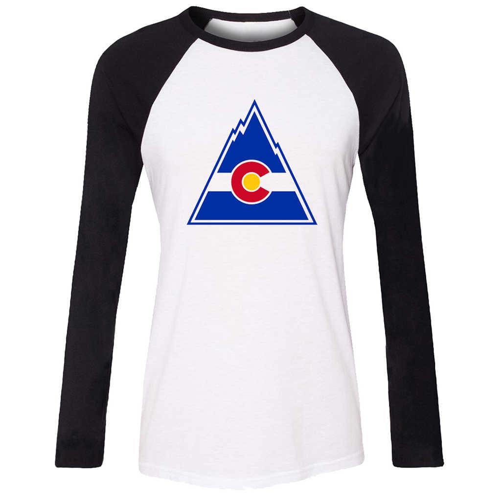 Idzn جديد إمرأة t-shirt كولورادو flag c الطبيعة جبال الفن نمط راجلان كم طويل سيدة فتاة تي شيرت عارضة تي قمم