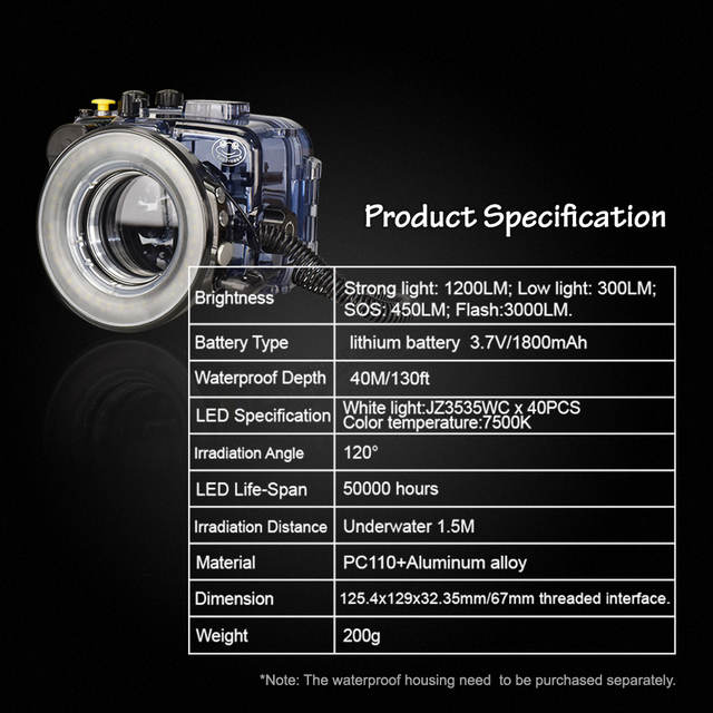 US $167 87 21% OFF|Mcoplus SL 108 67mm Underwater Diving Macro Ring Flash  Light Fill Lighting For Sony Canon Fujifilm Camera Waterproof Housing  Cas-in