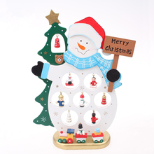 Cheap Christmas XMAS Gift Table Decoration Wood Christmas Snowman Santa Claus Ornament Wooden adornos navidad Decor Crafts