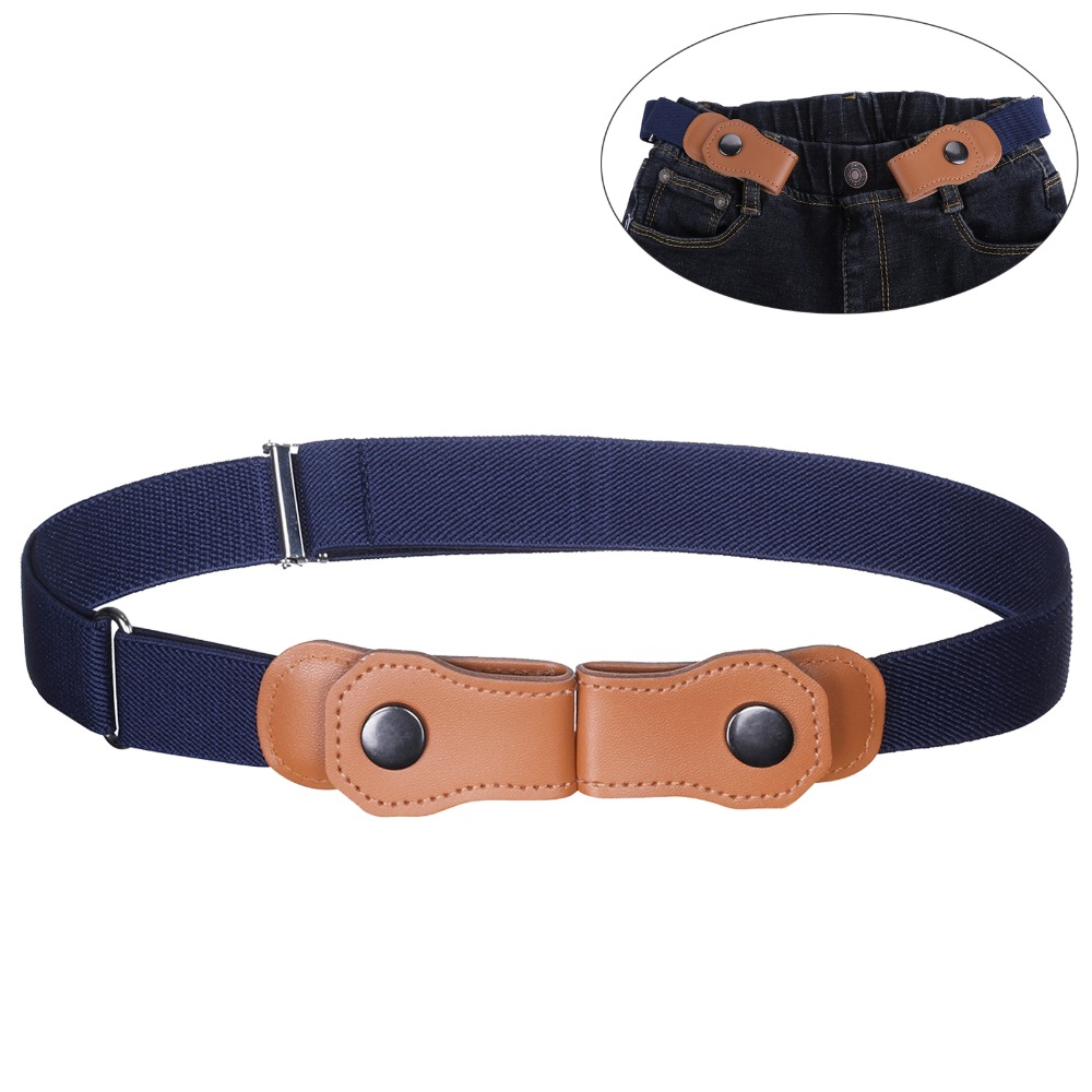 AWAYTR Solid Color Canvas Buckle-Free   Belt   For Kids Boys Girls PU Button Without Buckle Adjustable Elastic Children's   Belts