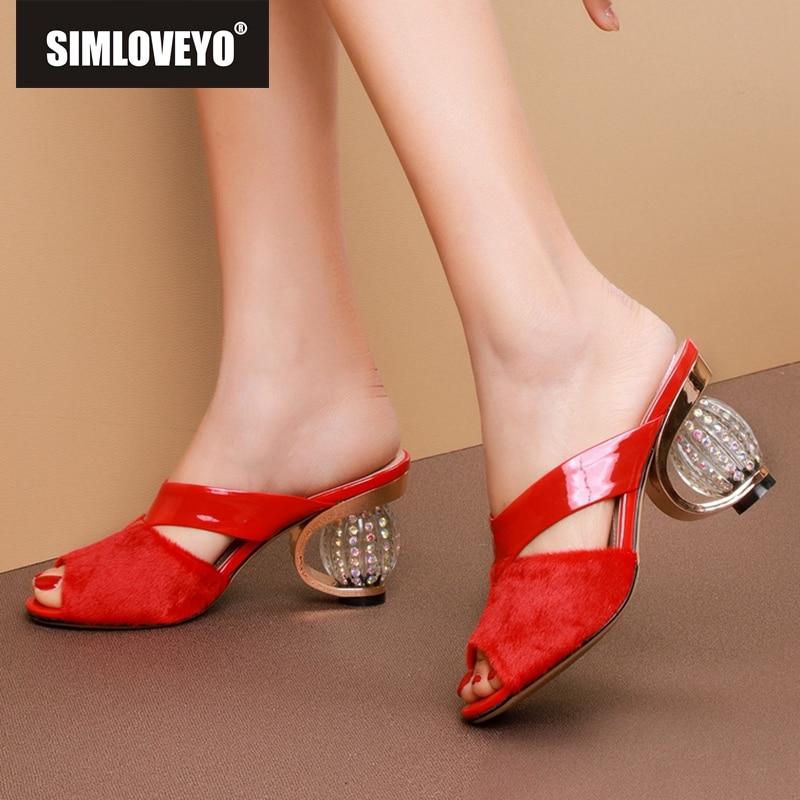 SIMLOVEYO Women's Sandals Shoes Slippers Heel Strange Genuine-Cow-Leather Peep-Toe High-Quality