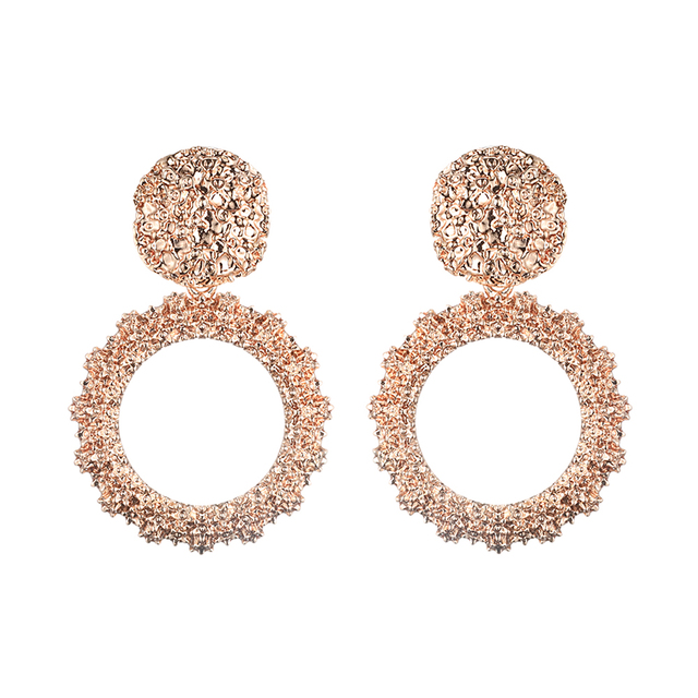 Round Vintage gold big earrings