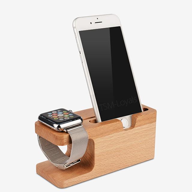 Ngansek para apple watch del soporte del muelle estación del muelle cuna de bambú natural soporte para teléfono móvil para el iphone 5 5s se 5c 6 s plus soporte
