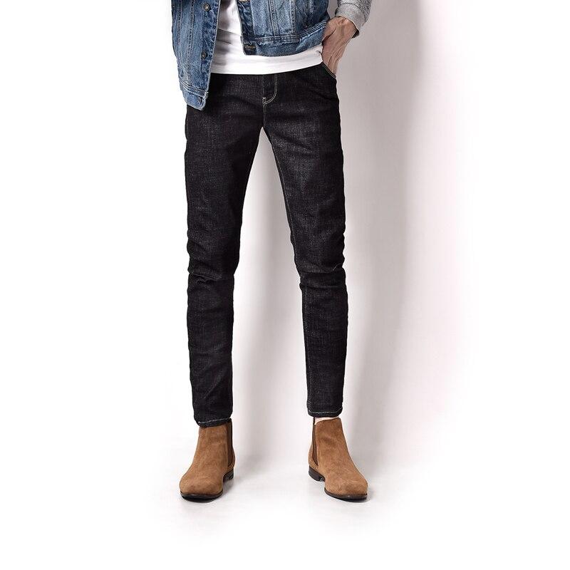 High Grade Denim Overalls Jeans Men Mid Stripe Solid Dark Ankle Length Pencil Pants Elastic Men`s Stretch Jeans Masculino A3159