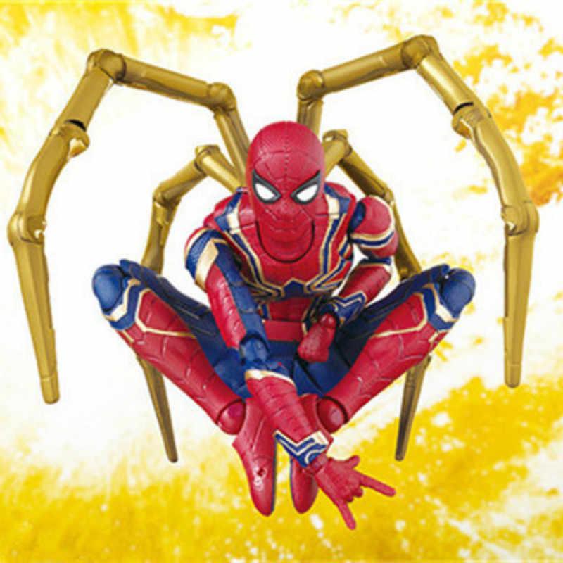 14 cm Spider-Man Spiderman Avengers Infinito Guerra Atualização Spidere Action Figure Boneca Brinquedos de Presente de Natal Em Caixa de Ferro os Recém-chegados