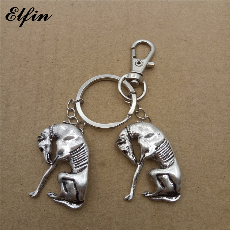 Elfin Wholesale 2017 Trendy Greyhound Key Chains Fashion Animal Pet Memorial Jewellery Whippet Key Rings