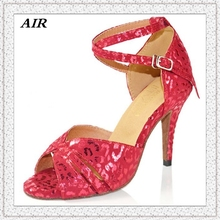White Red Ballroom Dance Shoes Woman Latin Dance Shoes Giltter Salsa Shoes Ladies Flock Thin Heels Customized