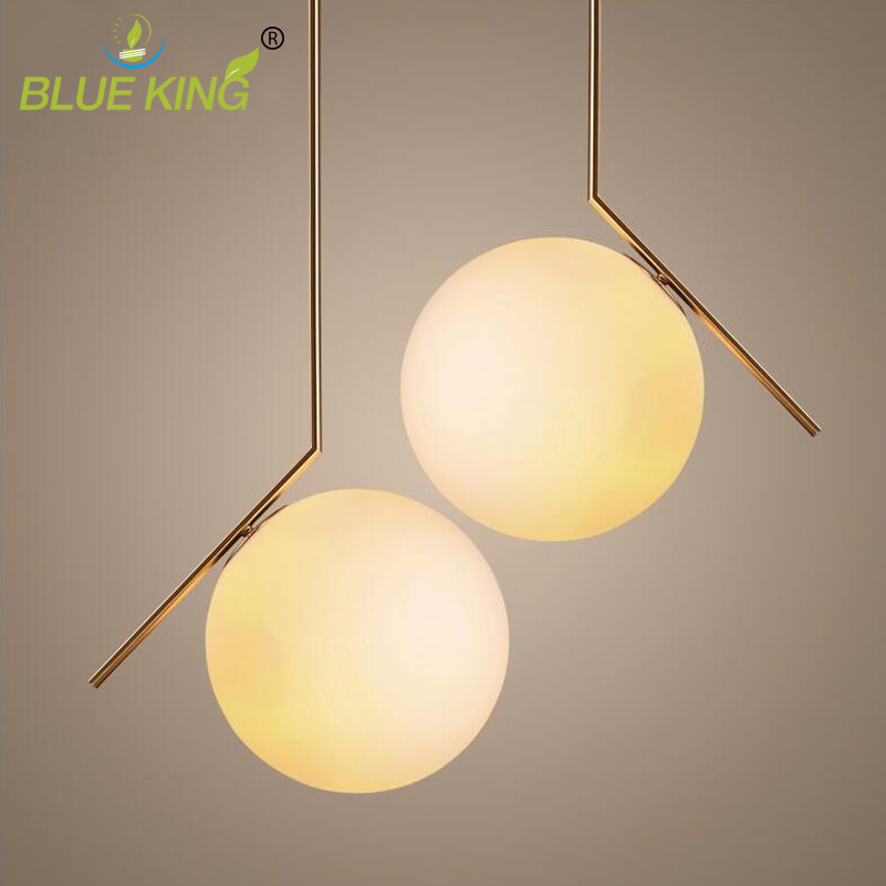Post Modern 110-220v Matte white Glass Ball Pendant Light Led Wrought Iron Pendant Lamp Luminarias with gold metal body kung retro black white silver gold color wrought iron lampashade led pendant light decorative with e27 holder 1 2 meter cable