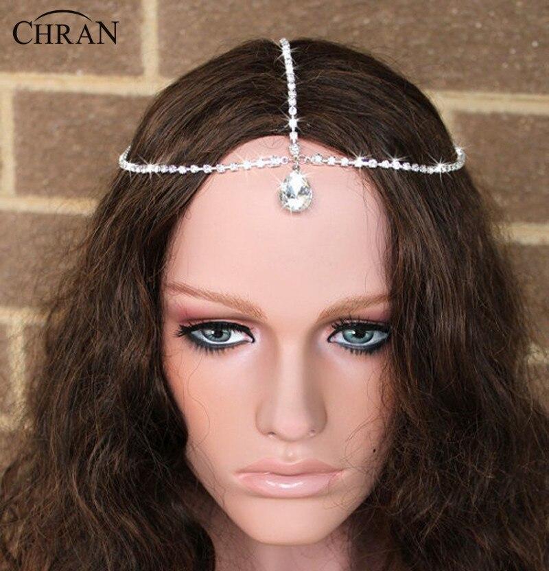 Chran Crystal Rhinestone Cadena Gota Charm Head Frente Celada Cadena Venda Nupci