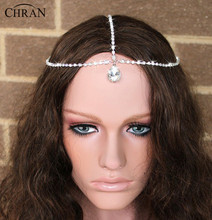 Gold Crystal Rhinestone Chain Drop Charm Head Chain Bridal Hair Headband Womens Headpiece Forehead Wedding Jewelry Hot HCA0094