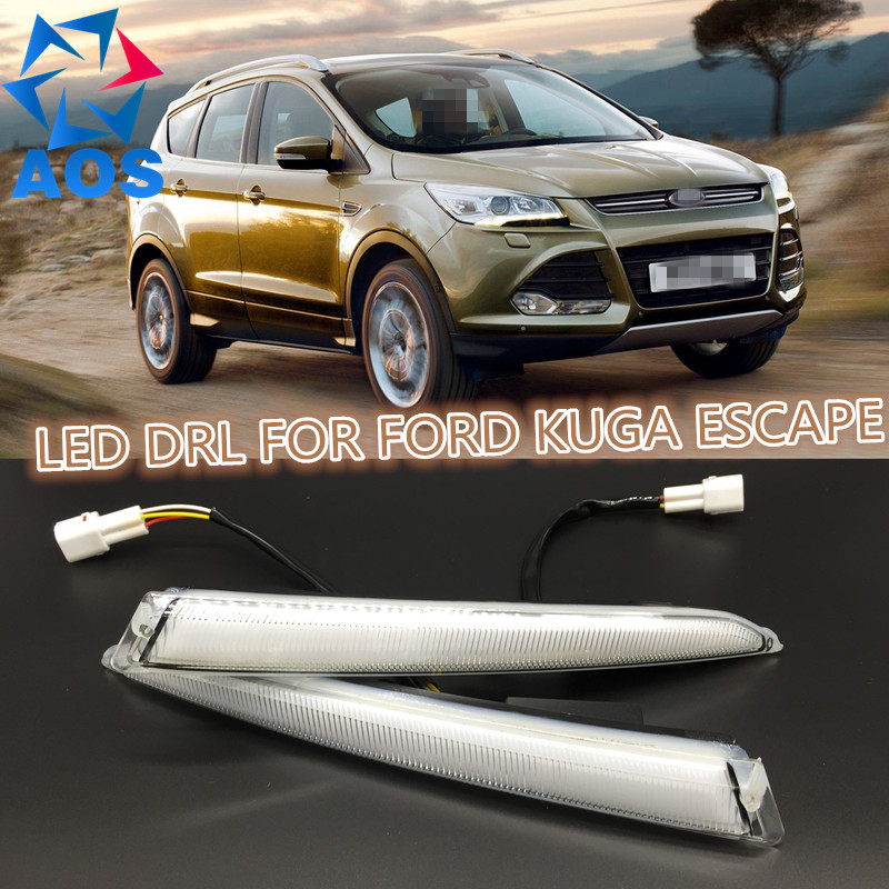 2PCs/set waterproof Car led Daytime Running Light drl daylight led car for Ford Kuga Escape 2012 2013 2014 2015 with fog lamp car rear trunk security shield shade cargo cover for ford kuga escape 2013 2014 2015 2016 black beige