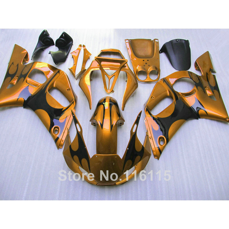 Lowest price full fairing kit for YAMAHA R6 1998 1999 2000 2001 2002 YZF-R6 golden black YZF R6 fairings set 98-01 02 NX65