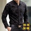 De gama alta de terciopelo de oro gruesa caliente tallado boutique de camisa de manga larga 2016 Otoño y el Invierno de tendencias de la moda de los hombres de calidad camisa M-XXXL