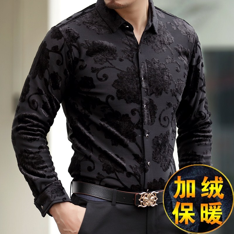 High end gold velvet warm thick carved boutique long sleeve shirt 2016 Autumn Winter fashion trends