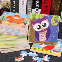 Danuyli Heißer Verkauf 1 stücke 16 Scheibe Kleine Stück Puzzle Spielzeug Kinder Tiere Holz Puzzles Kinder Pädagogisches Spielzeug für baby