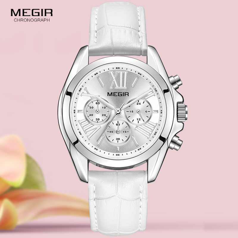 MEGIR2019 New Luxury Leather Watch Women Female Top Brand Chronograph Quartz Wristwatch Lady Relogios Femininos Clock 2114 White 1
