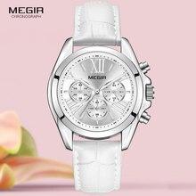 MEGIR2019 ใหม่หรูหราหนังนาฬิกาผู้หญิงหญิงTOPยี่ห้อChronographควอตซ์นาฬิกาข้อมือผู้หญิงRelogios Femininosนาฬิกา 2114 สีขาว