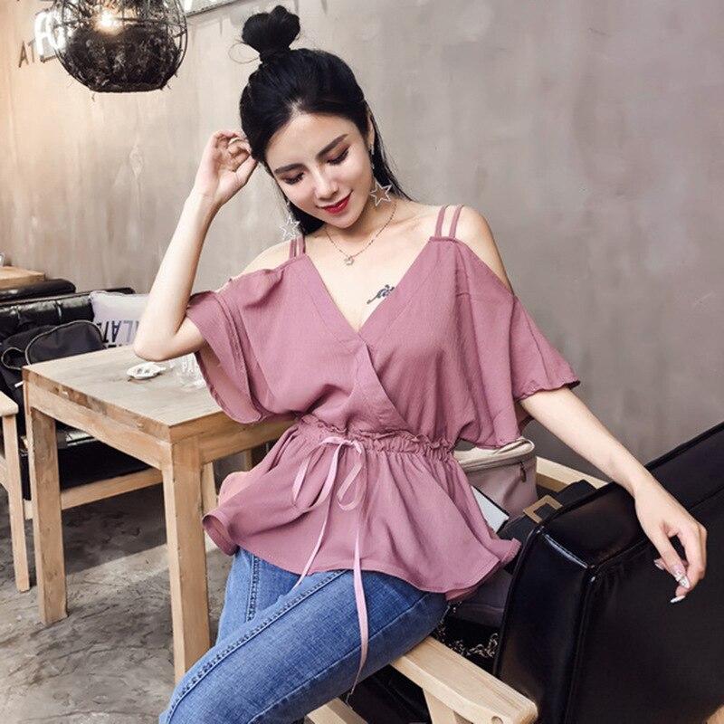2018 Zomer Nieuwe Vrouwen V-hals Strapless Korte Mouwen Chiffon Overhemd Ideaal Cadeau Voor Alle Gelegenheden