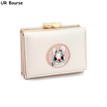 UR BOURSE Womens Cartoon Small Wallet Ladies Coin Purse Card Holder Female Multi-card Buckle PU Leather Carteras Slim