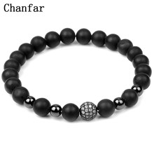 Chanfar 3Styles Fashion Matte Natural Stone Bracelet Men Bianshi Strand Shining CZ Ball Beads Charm Bracelets Women Jewelry(China)