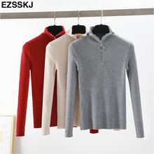 casual Zipper Turtleneck Knitted Pullovers