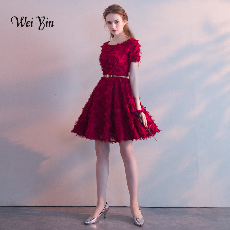 Weiyin Full Lace Cocktail Dresses With Sashes Elegant Short Formal Dress Wine Red Women Girl Dress Chic Short Prom Gown WY821