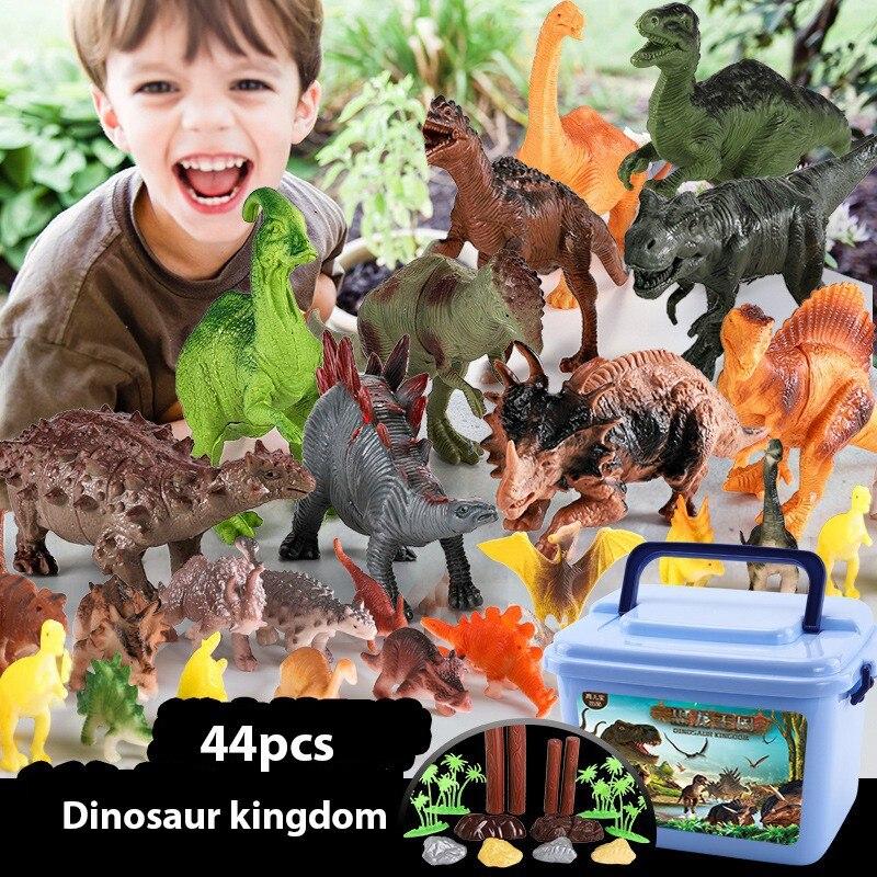 Figurine de dinosaure, 44 pièces biologie dinosaure animaux vivants ensemble de jouets, matériel de sécurité en plastique dinosaure Playset