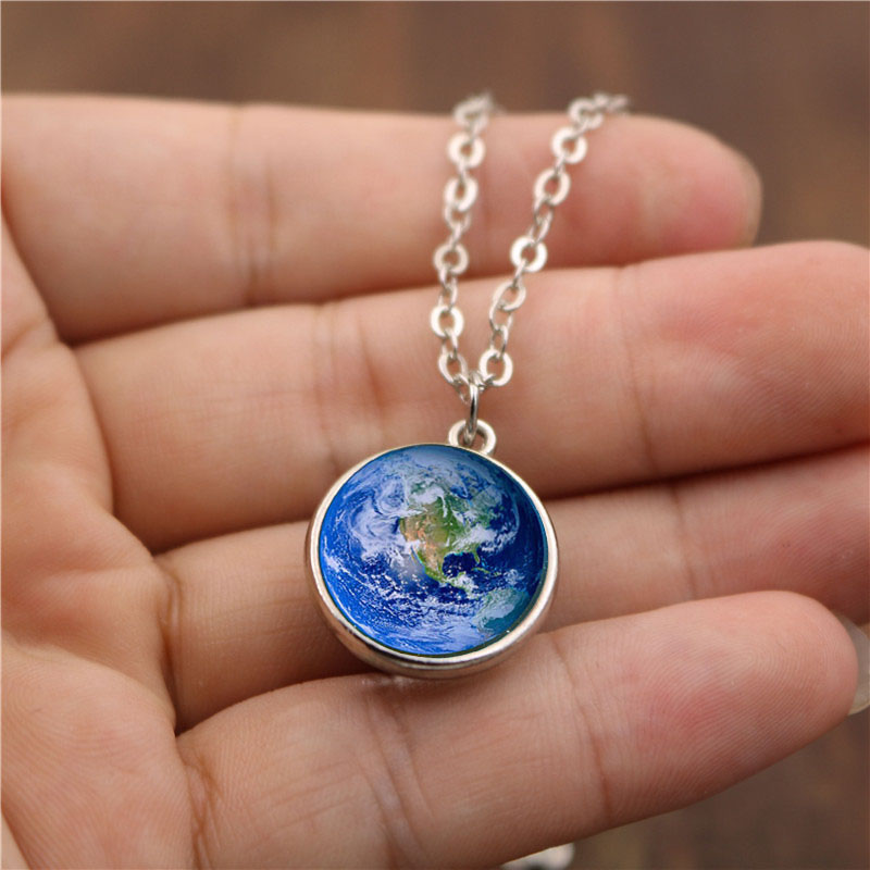 1 Pcs Women Necklace Double Sided Glass Ball Pendant Globe Jewelry Decor Gift
