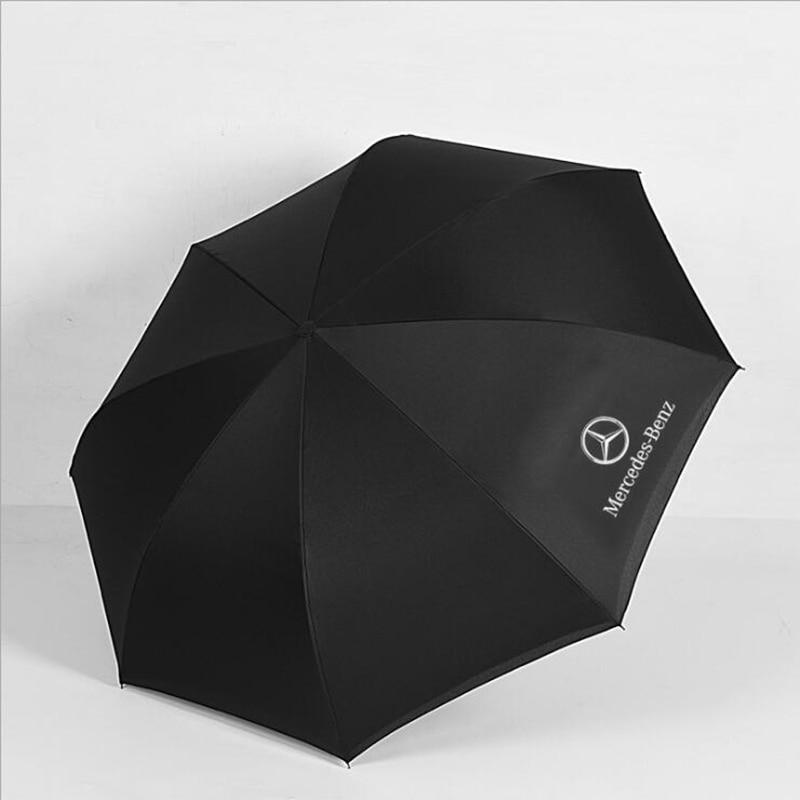 Image 3 - Creative car logo Mercedes umbrella long handle reverse umbrella 8 bone C type handle double windproof umbrella-in Umbrellas from Home & Garden