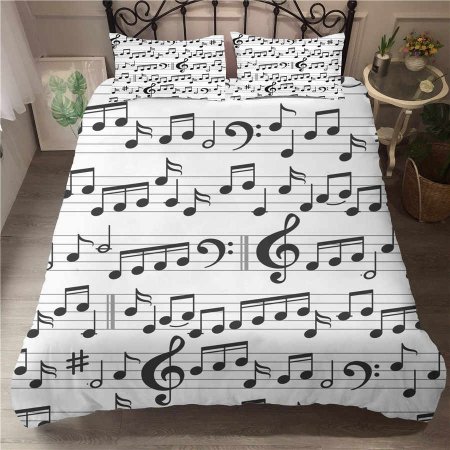 A Bedding Set 3D Printed Duvet Cover Bed Set Musical Note Home Textiles for Adults Bedclothes with Pillowcase #YF09