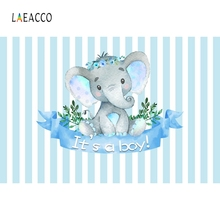 Laeacco Cartoon Elephant Baby Shower Photography Background Customized Party Portrait Photographic Backdrops For Photo Studio