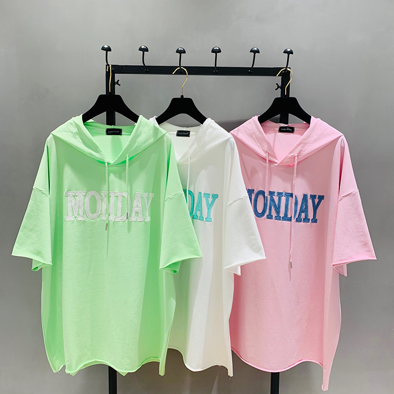 Women Tshirt Cotton Casual Knitted Short Sleeve Long Cloth Letter Printed Hooded Plus Size Loose Summer