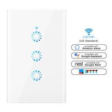Сенсорный выключатель выключатель света Умный световой переключатель сенсорный настенный WiFi переключатель США Стандартный прерыватель совместим с Alexa Google Assistant IFTTT для Android iOS сенсорные выключатели