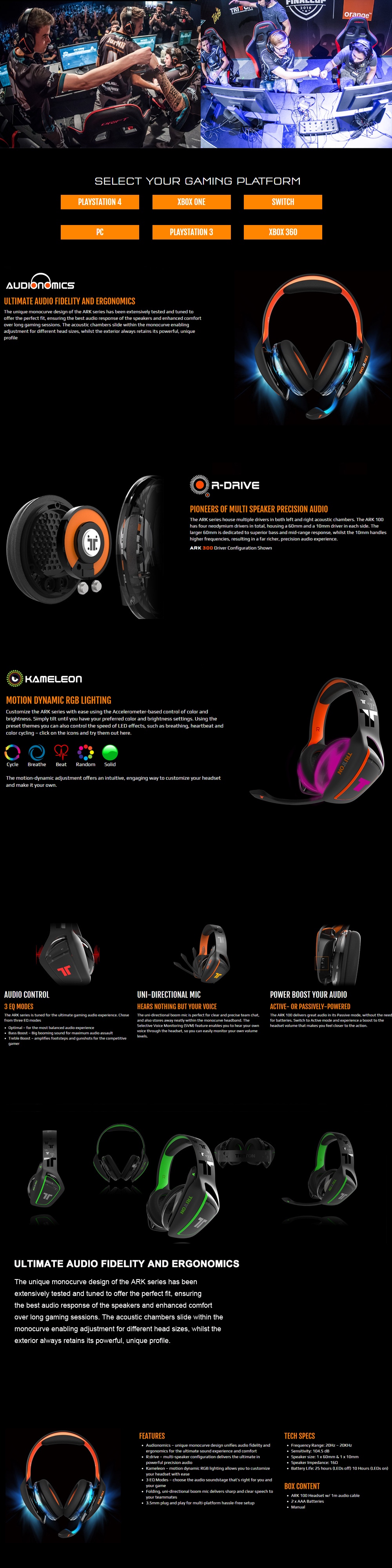 TRITTON ARK 120 Amplified Stereo RGB Gaming Headset for Playstation 4, Xbox  One, Nintendo Switch