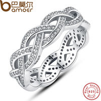 BAMOER Authentic 925 Sterling Silver Sparkling BRAIDED Pave RING For Women Wedding Luxury Jewelry PA7111