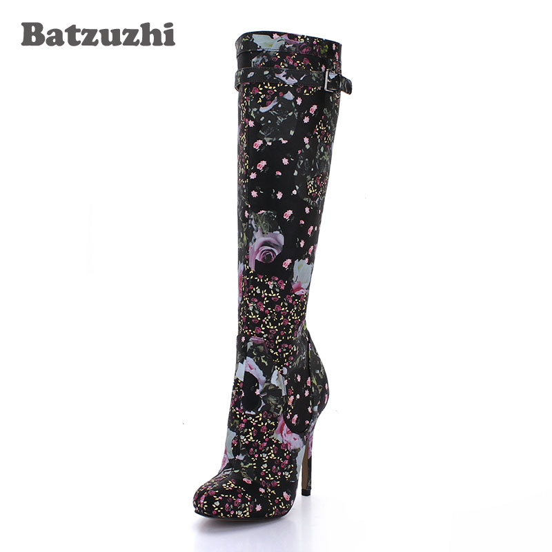 Batzuzhi-12cm Sexy Party Boots Pointed Toe Black Leather Knee High Boots Print with Flowers Zip Winter Autumn Long Boots Ladies batzuzhi 2018 handmade women shoes pointed toe 12cm long boots ladies white knee high party botas mujer winter big size 43
