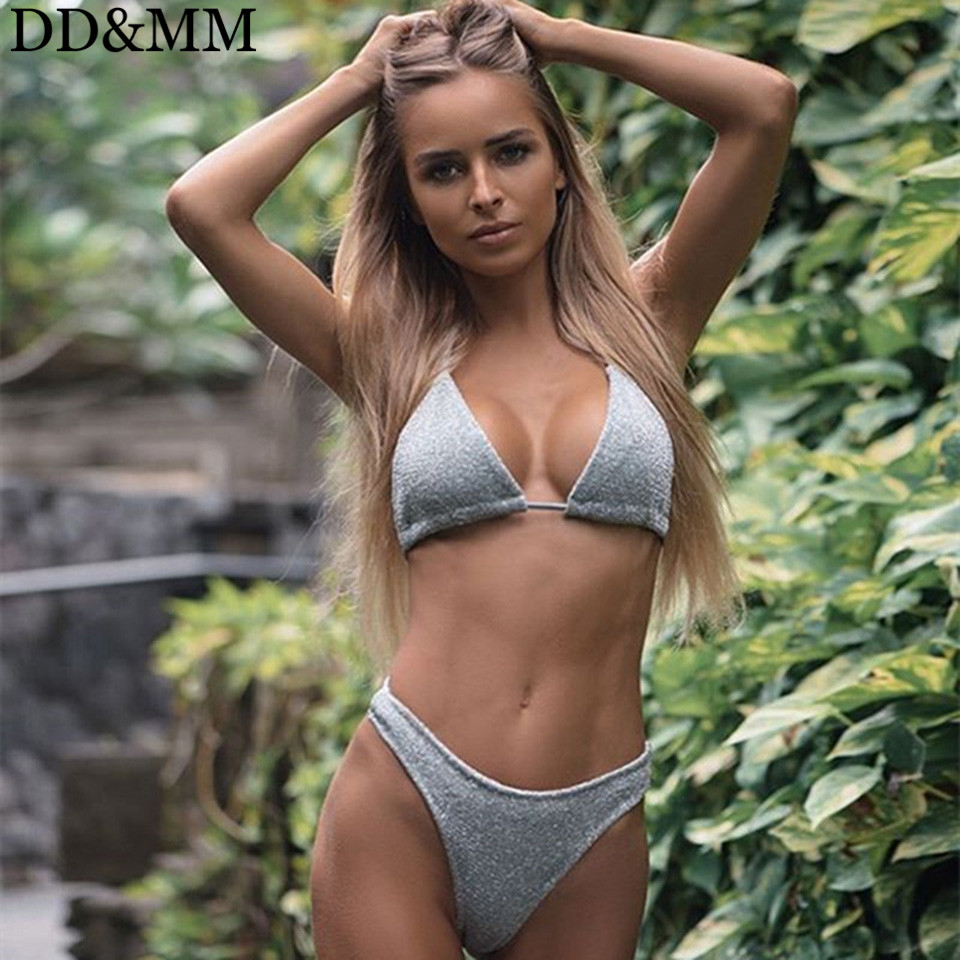 DD&MM Sliver Gold Glitter Bikini Set Women Halter Swimwear High Cut Swimsuit Bathing Suit Female Brazilian Bikini Biquini
