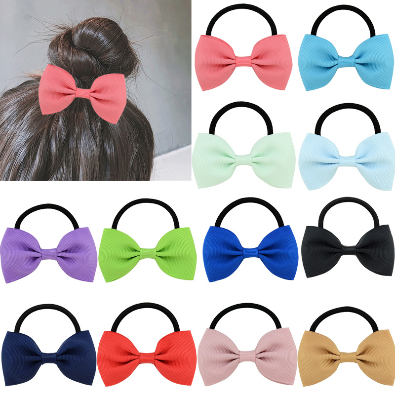 Ruoshui Kids Bowknot Scrunchies Hair Bows For Girls Baby Hair Ties Gum Solid Elastic Hair Band Child Hair Accessories Rope