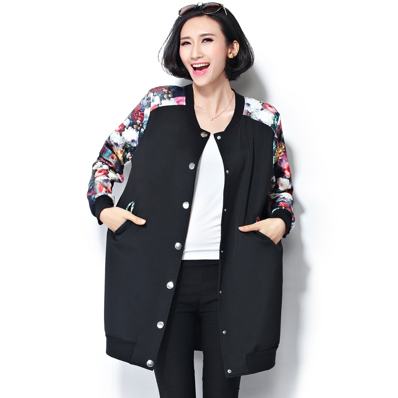 da1e947cebb Oversized Spring Autumn Women Floral Print Bomber Jackets Lady Fashionable  Thin Patchwork Single Breasted Baseball Uniform-in Basic Jackets from  Women s ...