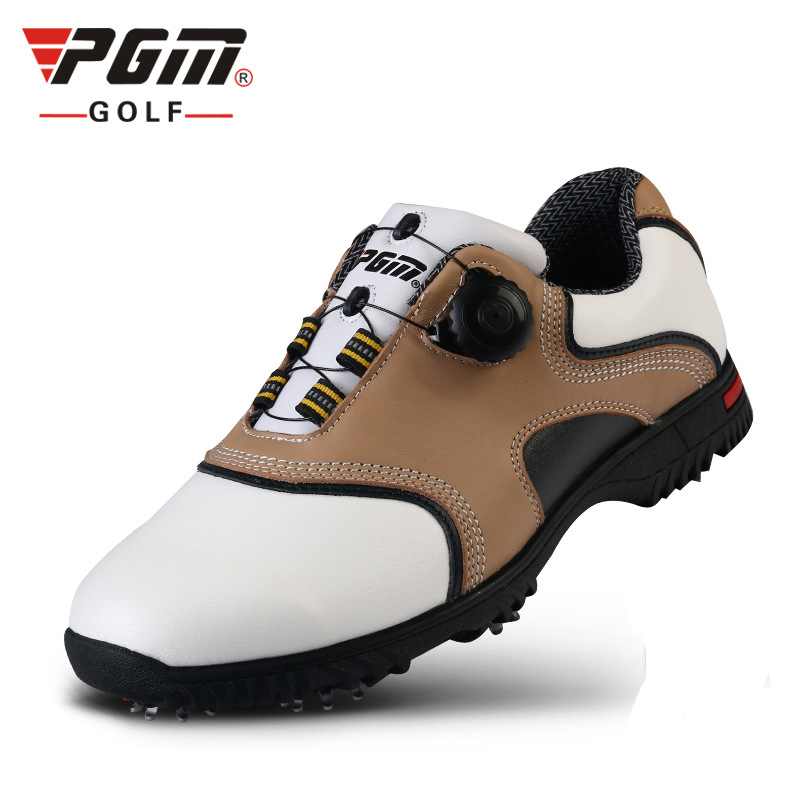 Men Golf Shoes Genuine Leather Knob Automatic Lace Sneakers Waterproof Sport Shoes Men Professional Golf Shoes Outdoor Gym Wear durable golf children shoes sneakers breathable anki skid soft shoes golf kids shoes outdoor sport running antiskid shoes
