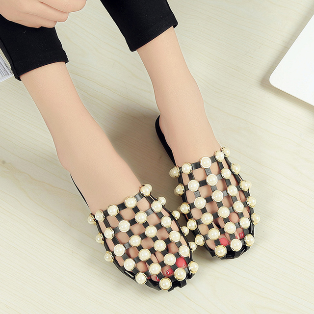 c133c13821aa3a 2018 Fashion Leather Casual Mules Luxury Slip On Beading Caged Women  Studded Flat Slide Sandals Shoes Women Shoes